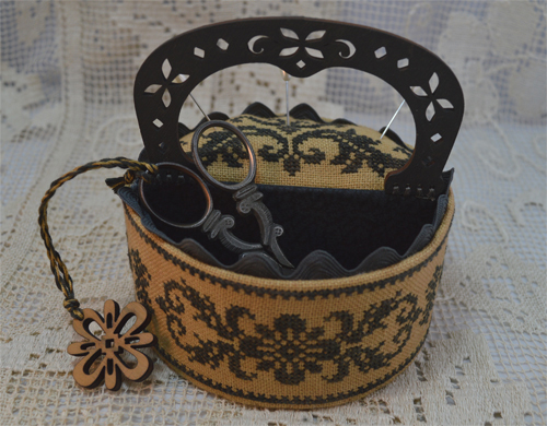 Black Flowers Sewing Box