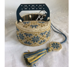 Blue Quaker sewing basket